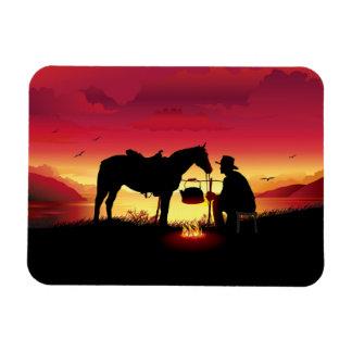 Cowboy und Pferd an Sonnenuntergang Flexi Magneten Magnet