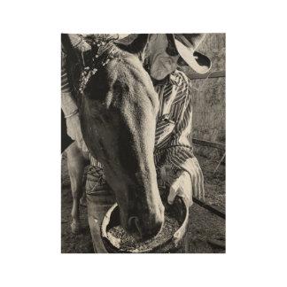Cowboy-und Pferdeplakat Holzposter