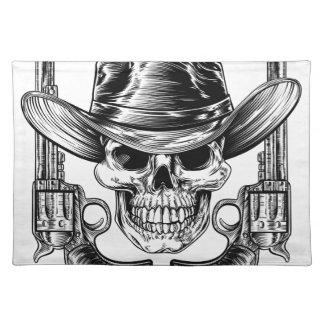 Cowboyhut-Schädel und Pistolen Tischset