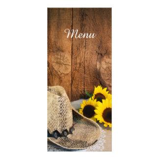 Cowboyhut-Sonnenblume-Scheunen-hölzernes Werbekarte