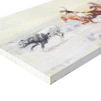 Cowboys vom Bar-Dreieck durch cm Russell Leinwanddruck