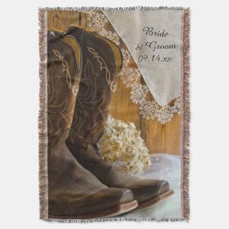 Cowboystiefel und Spitze-Land-Hochzeits-Wurf Decke