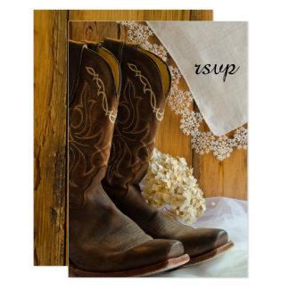 Cowboystiefel und Spitze-Western-Hochzeit UAWG 8,9 X 12,7 Cm Einladungskarte