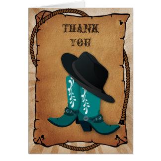 Cowboystiefel-Western Thema danken Ihnen Karte