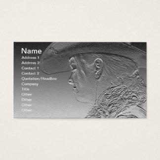 Cowgirl auf silbernem metallischem Hintergrund Visitenkarte