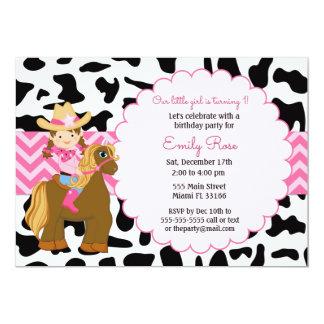 Cowgirl-Geburtstags-Einladung Karte
