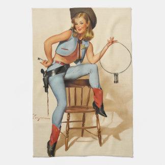 Cowgirl-Pin-up-Girl Küchenhandtücher