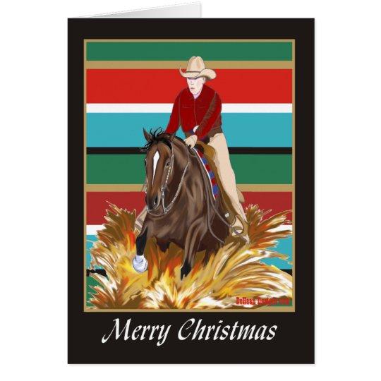 Cowgirl Reinging Pferderaum-Weihnachtskarte Grußkarte