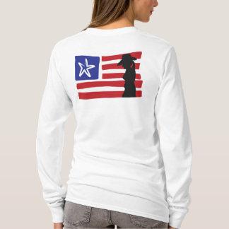 Cowgirl-Silhouette auf USA-Flagge T-Shirt
