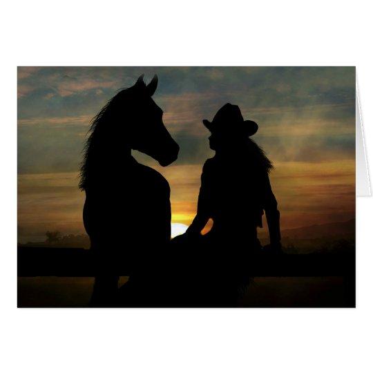 Cowgirl-und Pferdealles- Gute zum Geburtstagkarte Grußkarte