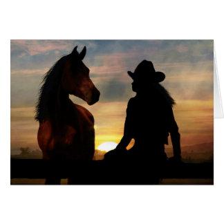Cowgirl-und PferdeBeileids-Verlust der Pferdekarte Grußkarte