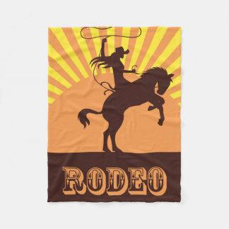 Cowgirl-und Pferderodeo-Sonnenuntergang Fleecedecke