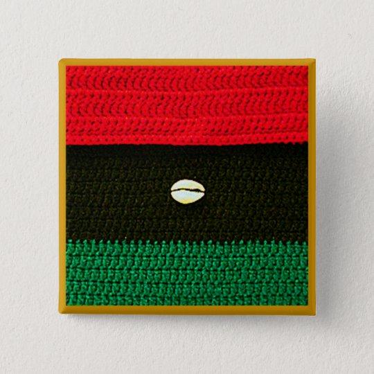 Cowrie-Muschel-rote schwarze grüne Häkelarbeit auf Quadratischer Button 5,1 Cm