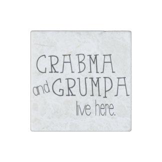 Crabma und Grumpa Livehier Marmormagnet Steinmagnet