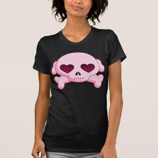Crâne de coeur de KRW et rose d'os croisés Tee Shirt