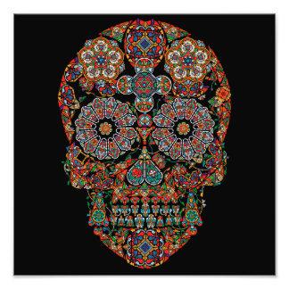 Crâne de sucre de fleur impressions photo