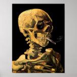 Crâne de Van Gogh avec l'affiche brûlante de