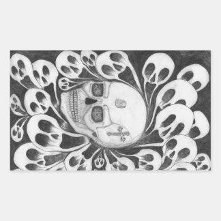 Crâne et images d'âmes sticker rectangulaire