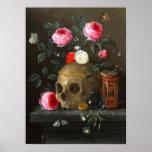Crâne et roses poster