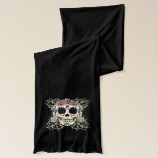 Crâne vintage et écharpe de fleurs