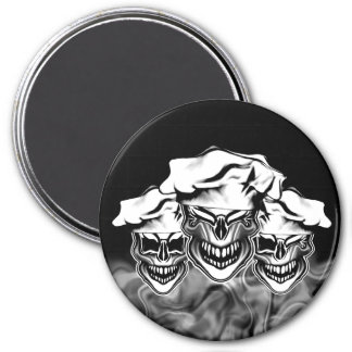 Crânes de tabagisme de chef magnet rond 7,50 cm