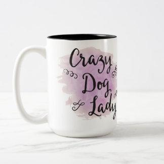 Crazy Dog Lady (Purple) Zweifarbige Tasse