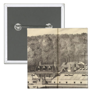Crèche et maisons vertes d'un Hance et d'un fils Badge Carré 5 Cm