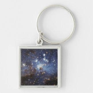 Crèche stellaire porte-clé carré argenté