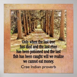 Cree-Inder-Sprichwort --- Kunstdruck -- X12 12 Poster