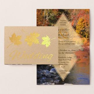 Creekside Holz-Ahornblattherbst-Hochzeitsgold Folienkarte