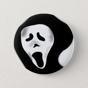 Creepy beängstigendes schreiendes gespenstisches runder button 5,7 cm