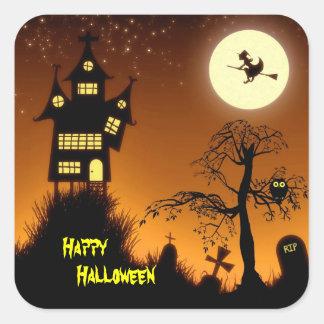 Creepy Spuk Haus Halloween dekorativ Quadratischer Aufkleber
