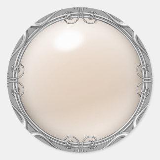 Creme Jeweled Perlen-Aufkleber Runder Aufkleber