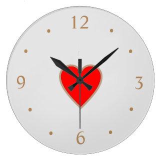 Creme mit roten Herz Centre>Valentine Tagesuhren Große Wanduhr