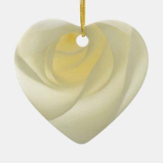 Creme-Rosen-Auge Keramik Herz-Ornament