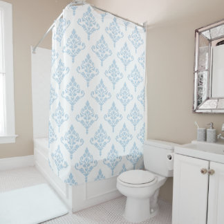 Cresta Damast Ptn (b) Blau (kein Hintergrund) Duschvorhang