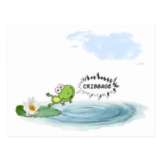 Cribbage Frosch Postkarte