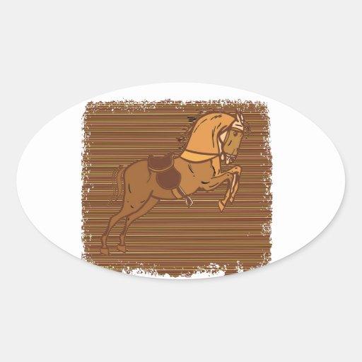 Croquis ESPIÈGLE de CHEVAL de Brown Autocollant Ovale