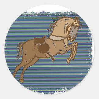 Croquis ESPIÈGLE de CHEVAL de Brown Sticker Rond
