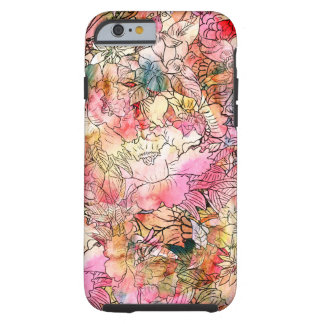 Croquis floral d'abrégé sur motif d'aquarelle coque iPhone 6 tough