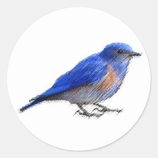 Croquis original d'un oiseau bleu (oiseau bleu) sticker rond