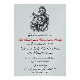 Cru argenté Père Noël d'invitations de fête de Carton D'invitation 12,7 Cm X 17,78 Cm
