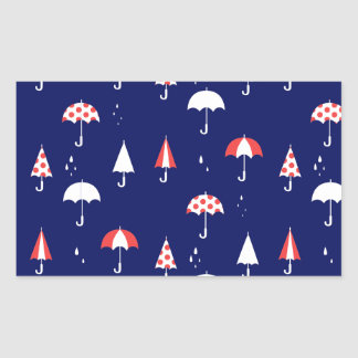 Cru de motif de parapluie et espiègle sticker rectangulaire
