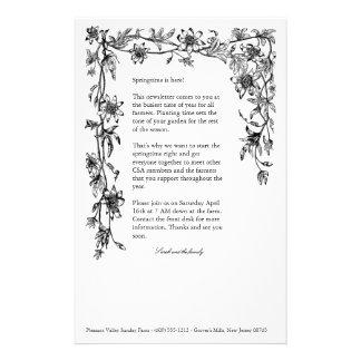 CSA Bauernhof-Rundschreiben-Blumengrenze stationär Briefpapier