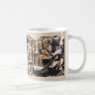 Cubist-Stuhl-Yoga-Tasse ~ Ka Malana Vorlagen-Kunst Kaffeetasse