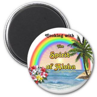 Cuisson avec l'esprit de Aloha Magnet Rond 8 Cm