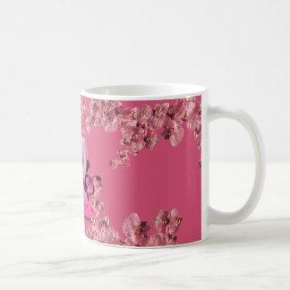 cup pink flowers mug blanc