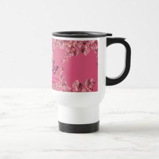 cup pink flowers mug de voyage en acier inoxydable