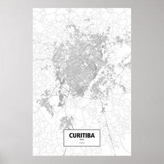 Curitiba, Brasilien (Schwarzes auf Weiß) Poster