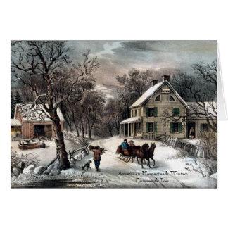 Currier u. Ives - Gruß-Karte - Gehöft-Winter Grußkarte